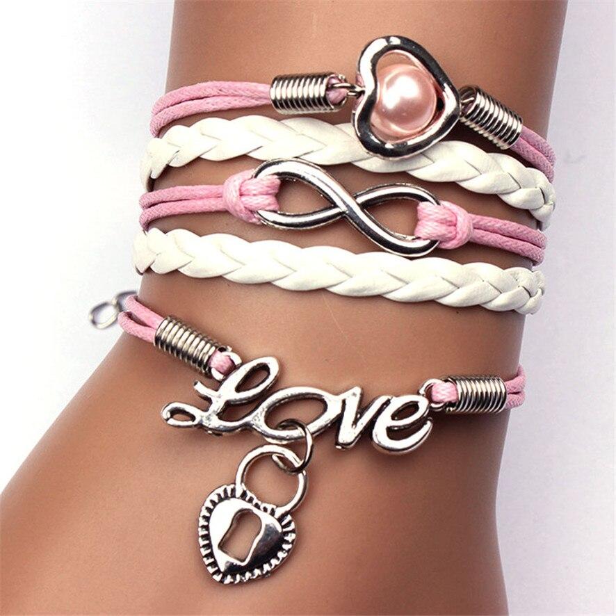 Women Bracelets Jewelry Love Heart Pearl Silver Leather Charm Bracelets