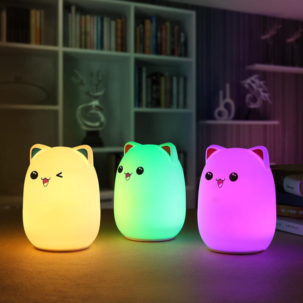 Colorful LED Night Light Lovely Silicone Cartoon Bear Rechargeable Touch Desk Bedroom Decor Tablet Lamp for Kids Girl (7)