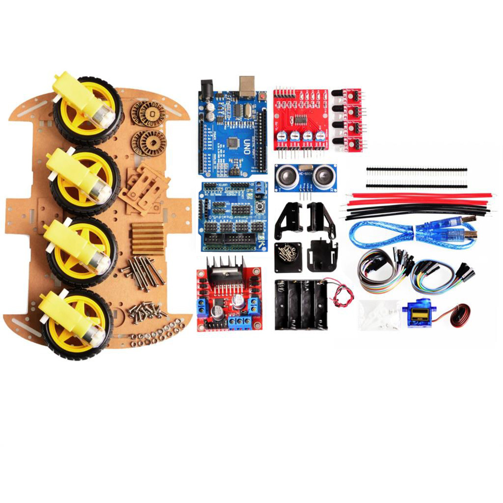 цена на Avoid Tracking Motor Smart Robot Car Chassis Kit 4WD Ultrasonic For Arduino Chip