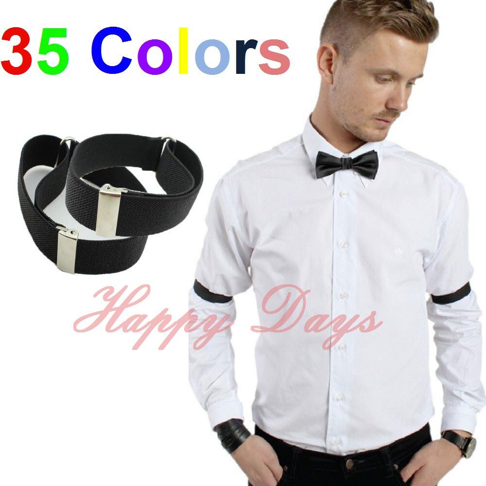 Mens Shirt Sleeve Holders Arm Bands Bridegroom Garter Elasticated Metal Armband Ladies 2 5cm wide 250