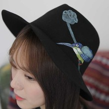 Wide Brim Floppy Felt Trilby with Hand Painted flower