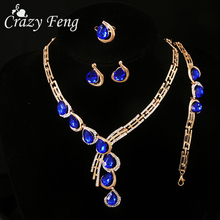 Luxury Wedding Crystal Jewelry Sets For Women Fashion Statement Neacklace Charm Bracelet Ring Earrings Bridal Wedding Jewelry