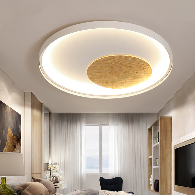 Decke licht holz runde dekorative overhead hängen wohnzimmer leuchten  schlafzimmer dimmen fernbedienung Moderne led deckenleuchte