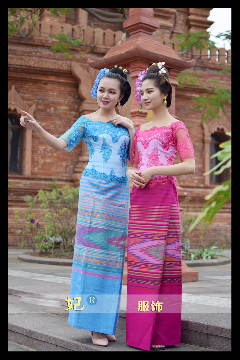 Vietnam Burma Laos Dai Wear Women Short Sleeve Top + Skirt Blue Rose Red Festivals Outfit Fashion Water Sprinkler Festival Suits 1