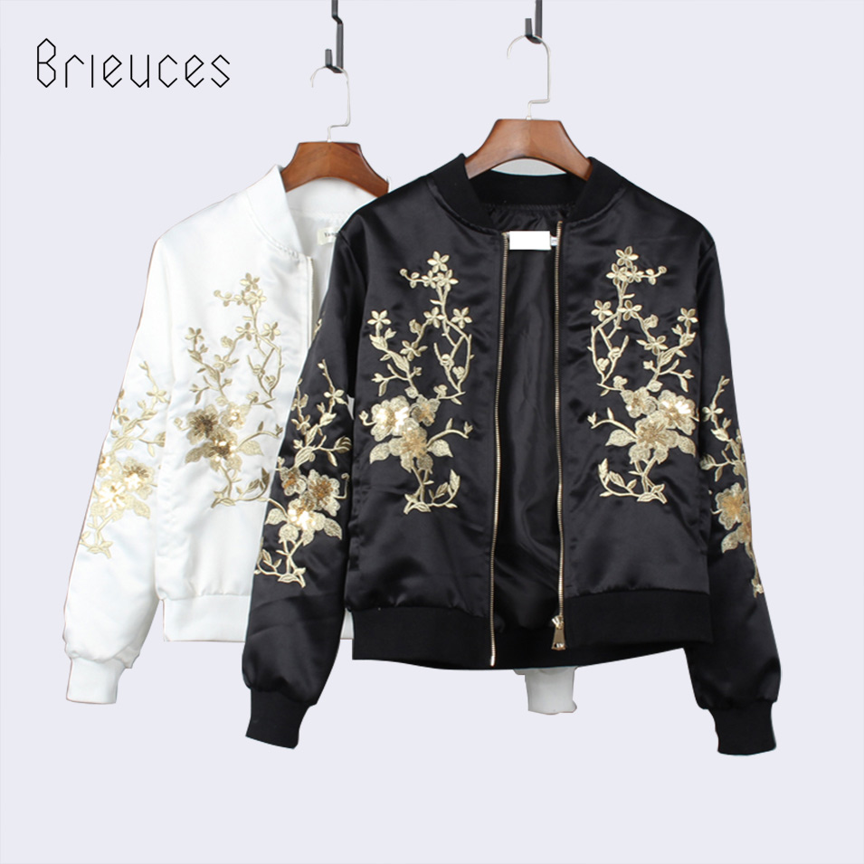 brieuces solid new o neck Zippers Embroidery Sequins jacket coat female short casual stand collar loose black coat women