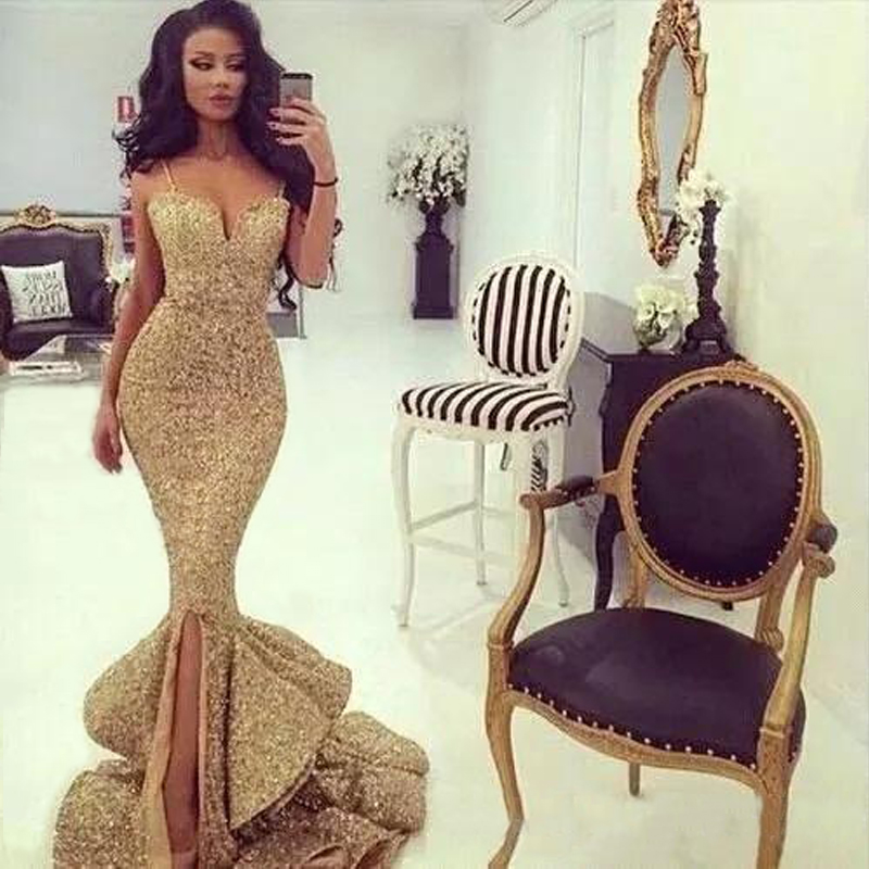 Bling Gold Sequins Mermaid Prom Gowns V Neck Spaghetti Strap Floor Length Ruffles Evening Gowns Pageant