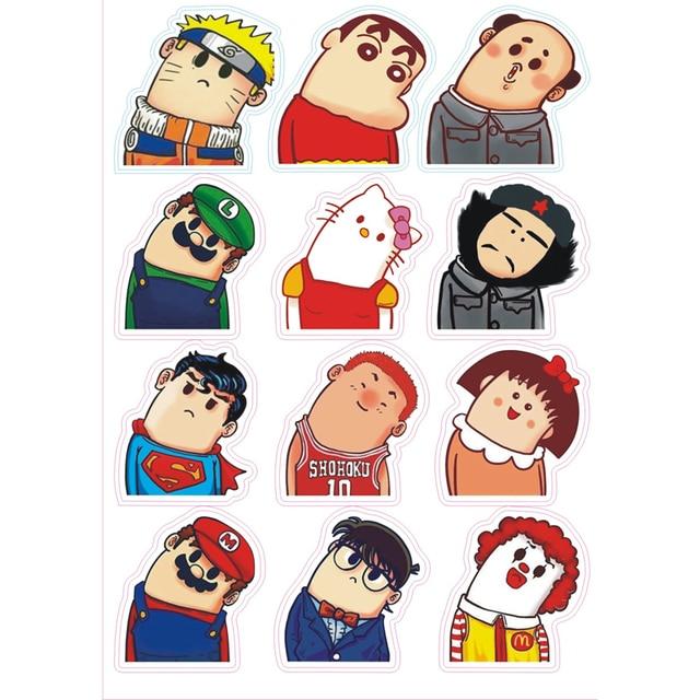 new 12pcs lot cartoon characters crayon shinchan stickers for