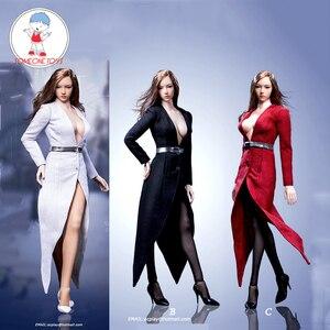 Image 1 - 1/6 נשי פעולה איור בגדי תעלת מעיל סט עם חגורת גרביים סקסי חליפת עבור 12 אינץ Phicen Tbleague Jiaoudoll גוף דמות