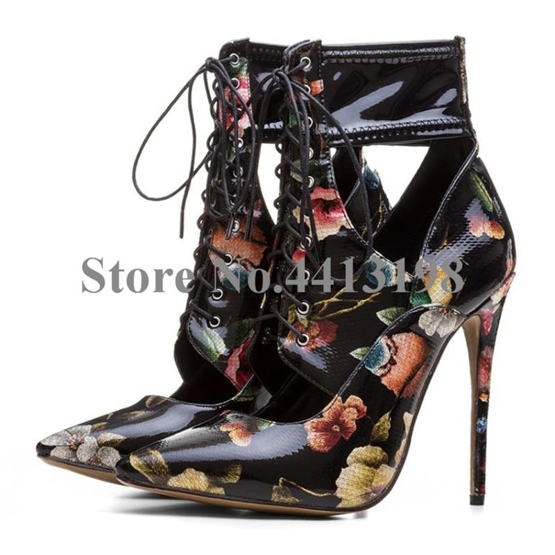 Floral attaché Pointu Dentelle Courtes Chaussures Sexy Bout As Pour Femme Picture Noir Nouveau Femmes up Minces Creux Cheville Croix Bottes Talons qI55p8w