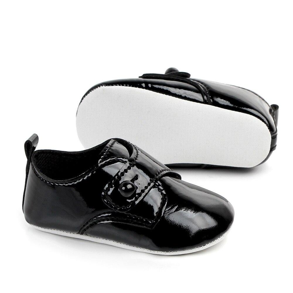 PU leather Baby First Walker Shoes Soft Soled Black Infant Moccasins Prewalker Toddler Crib