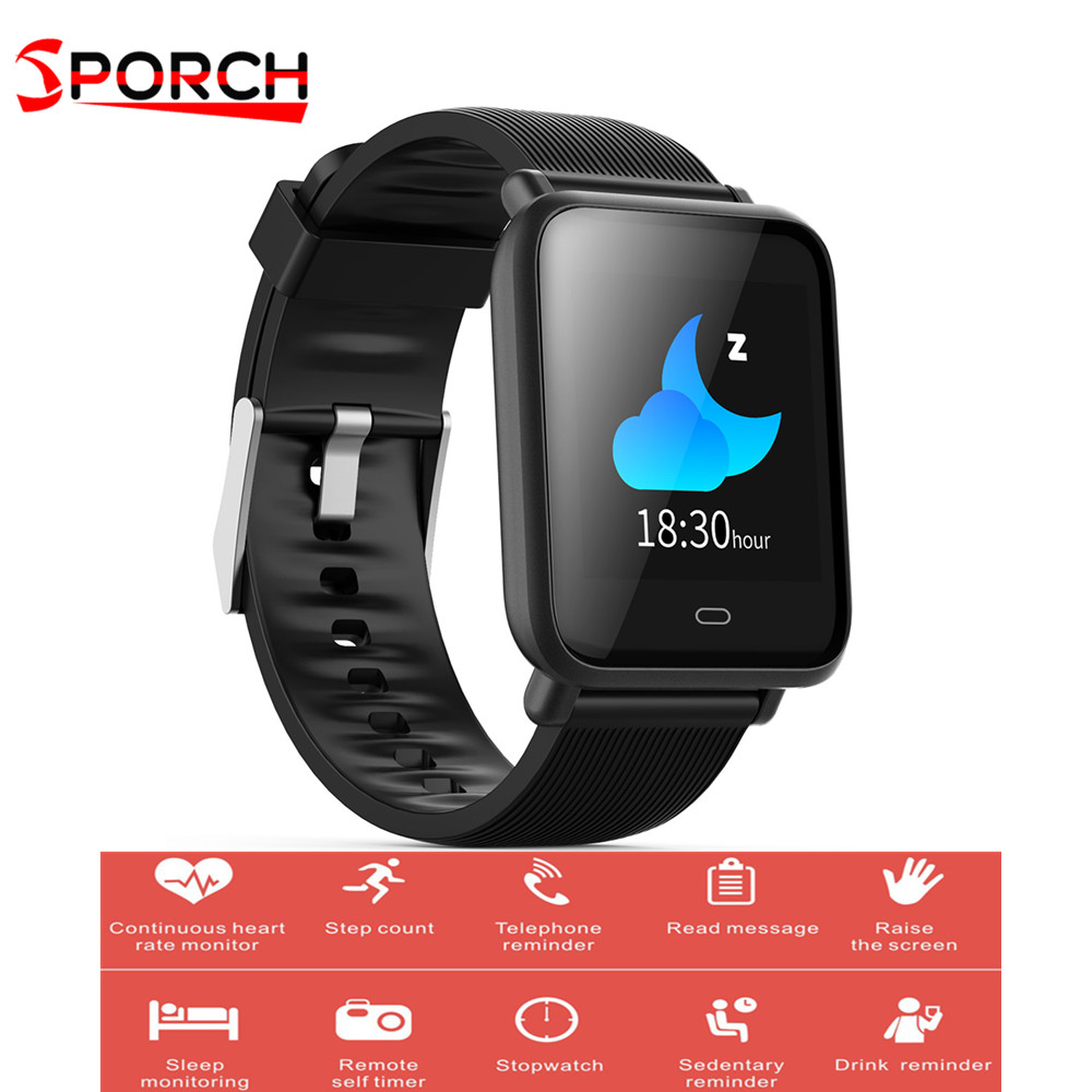 цена на Sporch Q9 Smart Watch Colorful Screen Sleep Heart Rate Monitor IP67 Waterproof Sports Men Women Smartwatch For Android and IOS