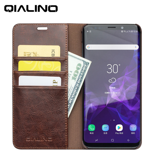 buy online 8a9af 00e82 US $31.99 |QIALINO Phone Case for Samsung S9 S9 Plus Genuine Leather Flip  Cover Wallet for Galaxy S9 S9 Plus Ultra Slim Folio Card Slots-in Flip  Cases ...