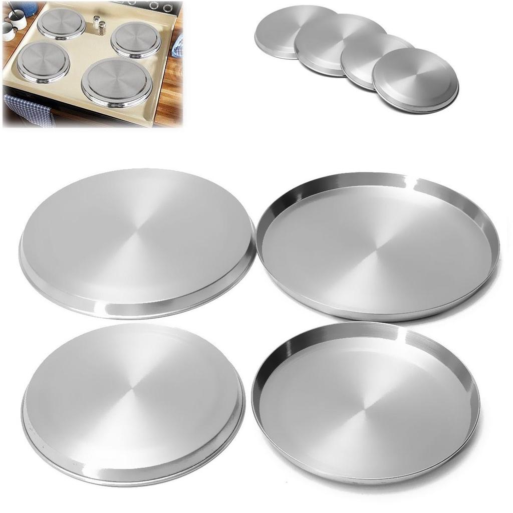 4Pcs/Set Stainless Steel Stove Top Cover Reusable Kitchen Burner Round Cooker Protection Kitchen Cookware Cover Lid Cooking Tool