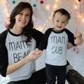 Madre e Hijo Camiseta de Las Tapas 2017 Del Resorte Ocasional Del Otoño Familia A Juego de La Manga completa Trajes Carta de Algodón Moda Niños Madre ropa