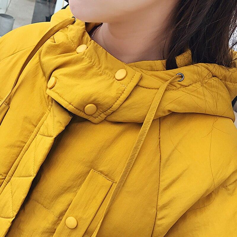 Caldo Modo Casual Cappuccio Delle Cappotto Con Lampo Della Inverno Tasche yellow Black Cotone Grandi Morbido Rivestimento In Donne Chiusura Stile Chic Coreano Spessore Signore Del Parka Di wAO6Iq