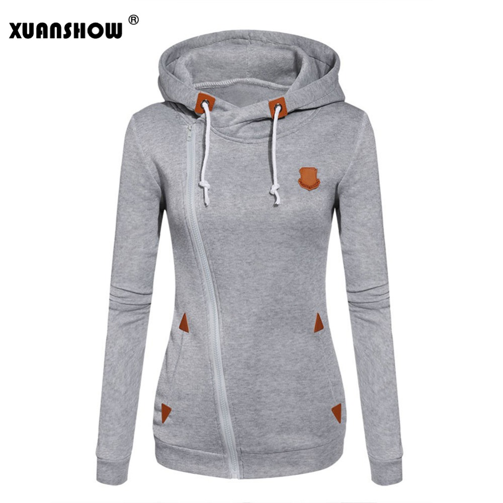 XUANSHOW Womens Fashion Fleeces Sweatshirts Ladies Hooded Candy Colors Sweatshirt Long Sleeve Zip Up Clothing Sudaderas Mujer