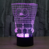 3D Atmosphere Lamp 7 Color Changing Visual Illusion LED Decor Lamp SpongeBob Home Table Decoration For