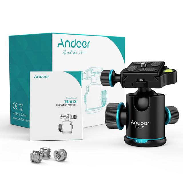 Andoer TB81X Tripod Ball Head Rotating Panoramic Ball Head with 3pcs 1/4″ to 3/8″ Srew Adapters  for Monopod DSLR Camera