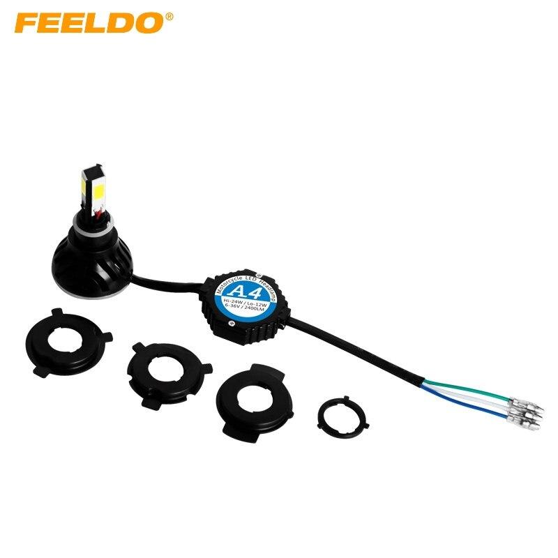 FEELDO H6M/H4/P15D25-3/S2(BA20D) 4in1 Motorcycle 2400LM LED 24W 6000K Hi/Lo Bulb Light Headlight KITS #1354