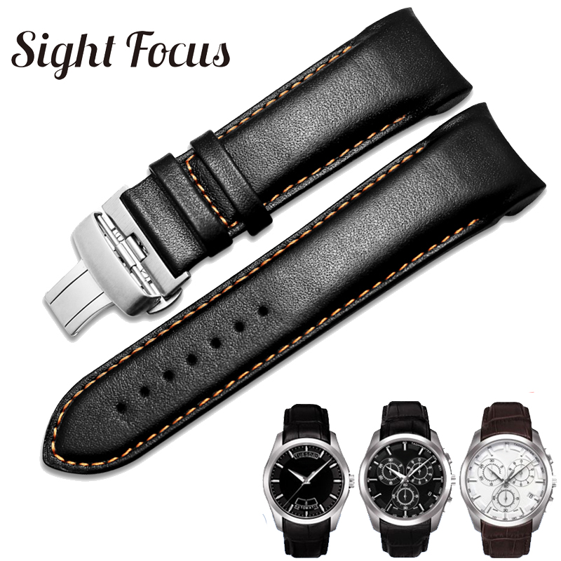 Calfskin Leather Men's Watchband 1853 For Tissot Watch Strap T035410A 407A Couturier 22 23 24mm Watch Bands Belt Wrist Bracelets