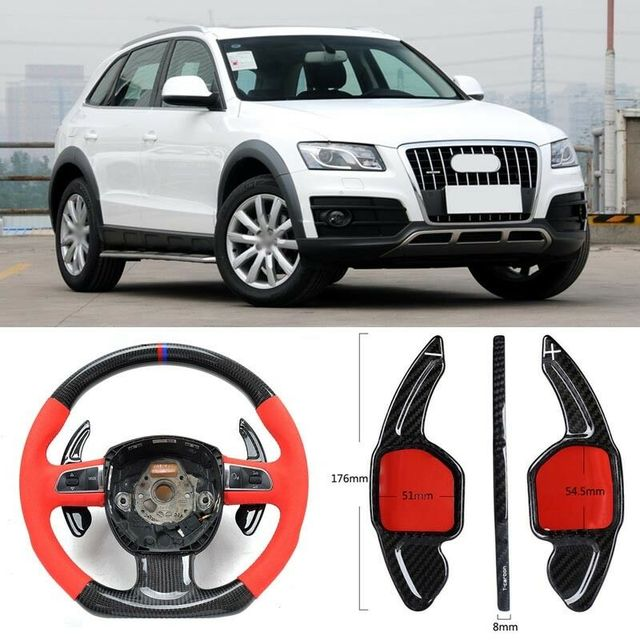 $ 103.39 Carbon Fiber Gear DSG Steering Wheel Paddle Shifter Cover Fit For Audi Q5 2010-2018