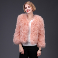 2018 new spring pink ostrich fur coat short jacket fluffy high fashion women natural fur coat thick warm fur street style