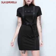 RAISEVERN Goth Dark Vintage Banadage Evenging Party Dresses