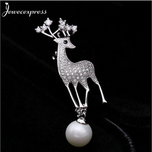 Jewecexpress  Popular littlle deer  zircon Brooches Women jewelry Party wedding Christmas gift
