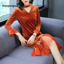 2018 Autumn Mesh Velvet Dress Women V-neck Flare Sleeve Trumpet Sexy Party Winter Cotton Midi Wrap Plus Size