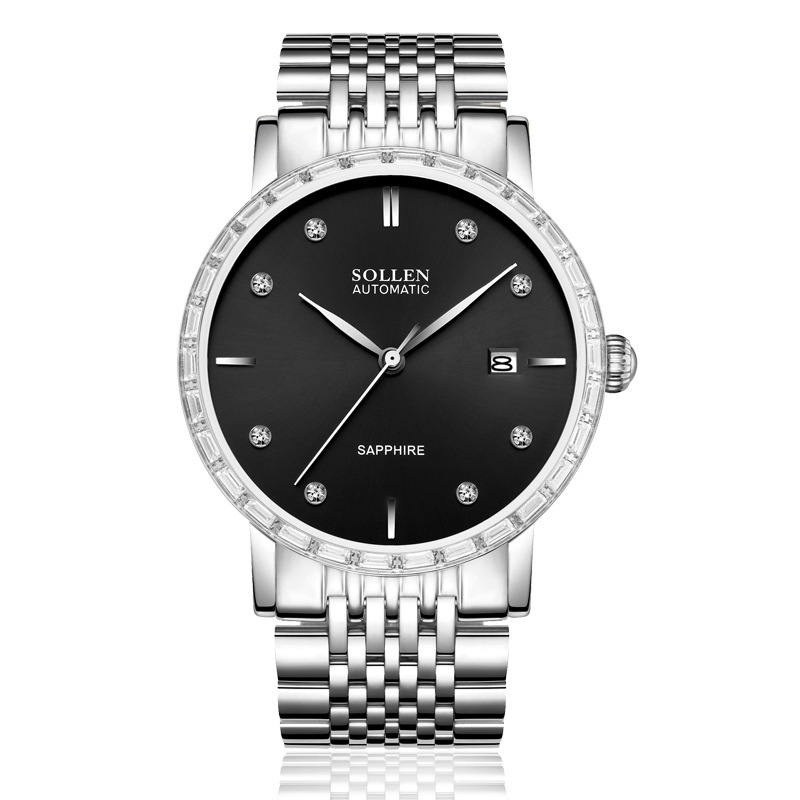 SOLLEN SL9007 watches men luxury brand japan 24 Jewels MIYOTA movement automatic mechanical watch sapphire black stainless steel relojes full stainless steel men s sprot watch black and white face vx42 movement