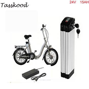 24v 15Ah electric bicycle battery silver fish case electric bike battery 24v 15ah lithium battery with charger small size 24v 15ah battery pack lithium 24v electric bike li ion battery 29 4v 2a charger