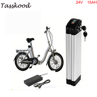 24v 15Ah electric bicycle battery silver fish case electric bike battery 24v 15ah lithium battery with charger