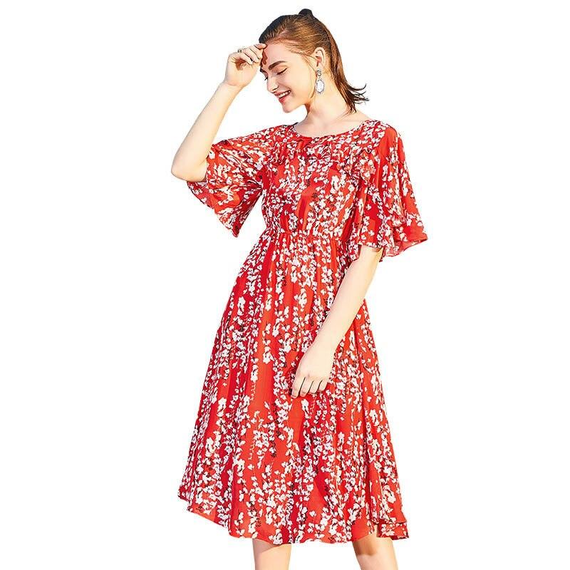 2019 printemps et été femmes décontracté Slim robe soie crêpe De Chine coupe-vent nouvelle imprimé à cinq points manches col rond robe