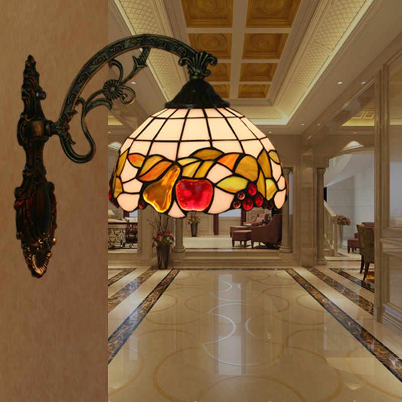 Стеклянное яблоко узор ресторанная настенная лампа бар балкон лестница бра светильник Европейский пасторальный витраж свет