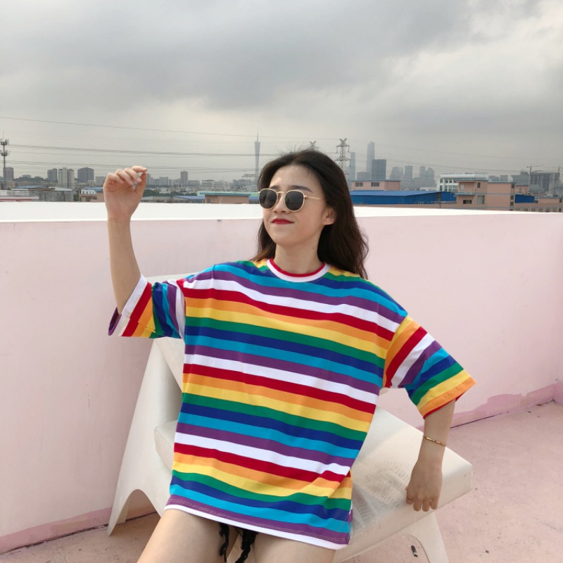 Woman Sweet Rainbow Striped Print Half Sleeves T shirts Women 39 s Fashion O Neck Tees Female Girl Casual Tops New Arrival 2019 in T Shirts from Women 39 s Clothing