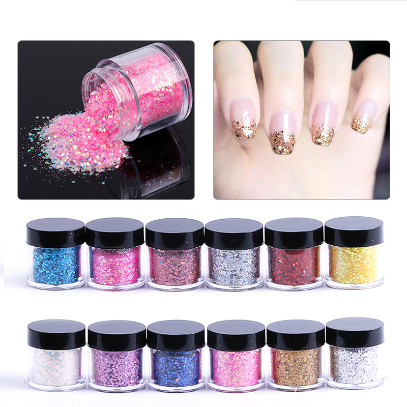 New Nail Art Rhinestone Micro Sequins 10g/box Gold Silver Colorful 12 Style Nail Glitter Powder Gorgeous Effect Nail Beauty Gift
