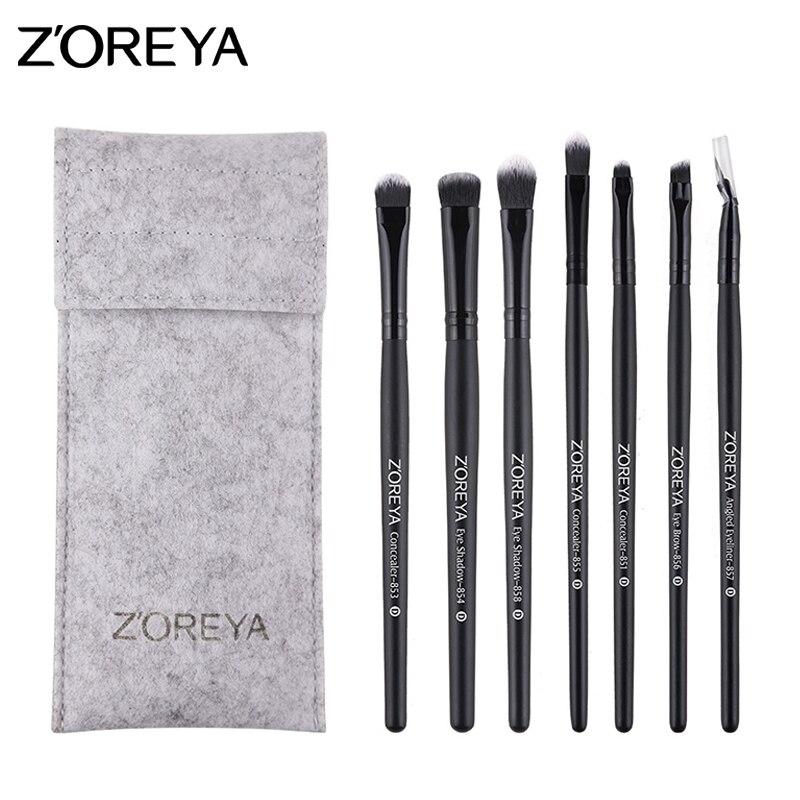 Zoreya 7 Stücke Augen Make Up Pinsel Set Pulver Eyeliner Lidschatten
