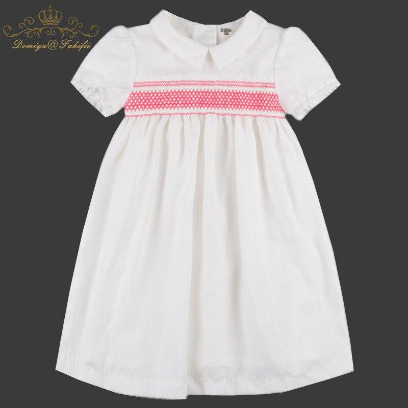 2019 Spring/Summer New Kid Wear Fashion Brand Children White Smocked Dress Vestidos Toddler Newborn Baby clothes Girls Dress