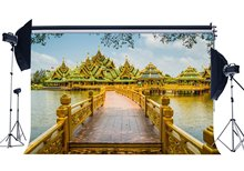 タイ風景の背景豪華な金閣寺ビルディング木材橋の写真の背景