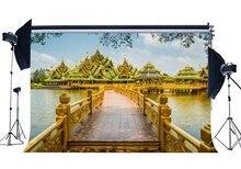 Thailand Landschap Achtergrond Luxe Golden Pavilion Gebouw Achtergronden Houten Brug Fotografie Achtergrond