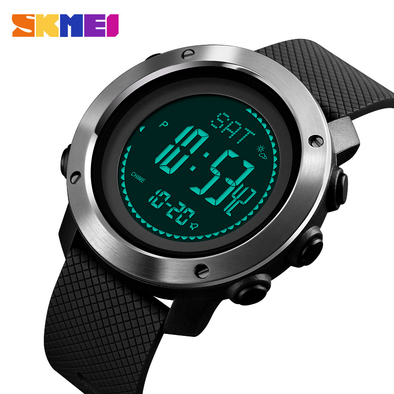 SKMEI Outdoor Compass Watches Mens Digital Sport Wristwatches For Men Thermometer Pressure Weather Tracker Watch Reloj 1418 1427