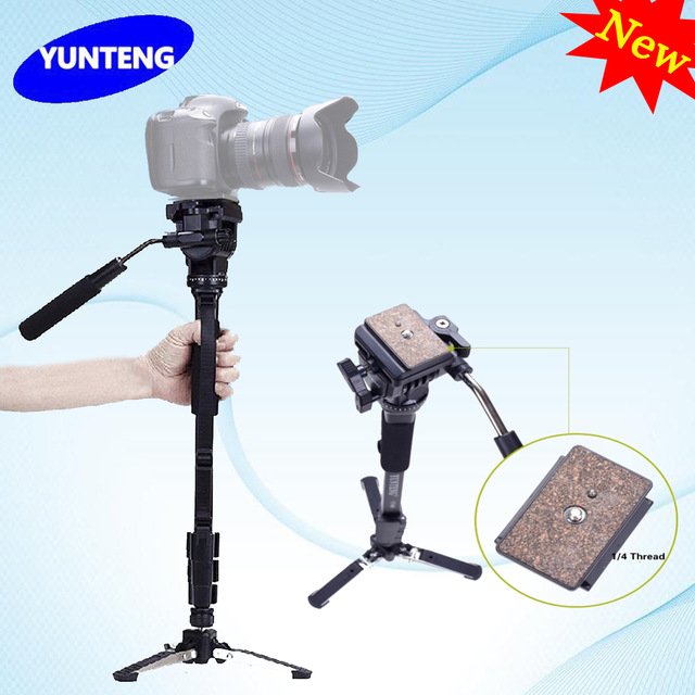 Professional C288 Monopod + Fluid Pan Head Ball + DV Unipod Mobile Phone Clip Holder For Canon Nikon DSLR Camera VCT 288-in Tripods from Consumer Electronics    1