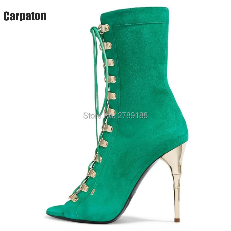 beige grey suede leather Lace Up Open Toe Women Boots Summer Autumn Ankle Boots Gold High Heels Pumps Shoes Women short booties maxmuxun women autumn winter rubber ankle boots lace up round toe flat heels classic black grey faux suede shoes female footwear