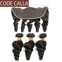 цена на Code Calla Unprocessed Raw Virgin Brazilian Human Hair Extension Loose Wave Bundles With Lace Frontal Closure With Hair Weave