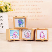 Ins Nordic Clockwork Musical Box Student Gift Music Box unicorns decorative pattern Wooden Photo frame Music Box Holiday Gift