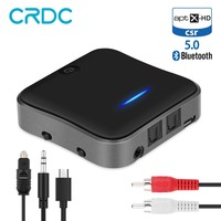 CRDC Bluetooth 5.0 Audio Transmitter Receiver CSR8675 Aptx HD Adapter Optical Toslink/3.5mm AUX/SPDIF for Car TV Headphones etc