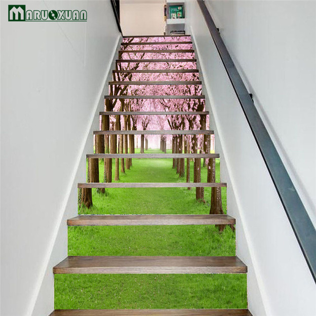 Maruoxuan 6pcs /12pcs Set New 3D Sakura Tree Stairs Stickers Corridor Stairs  Staircase Decorative Floor