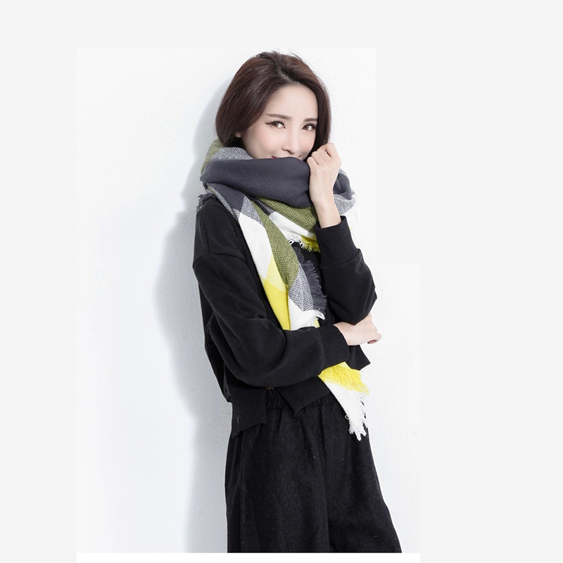 Lady Women Double Sided Blanket Wrap Shawl Plaid Cozy Pashmina Scarf Luxury Brand font b Tartan