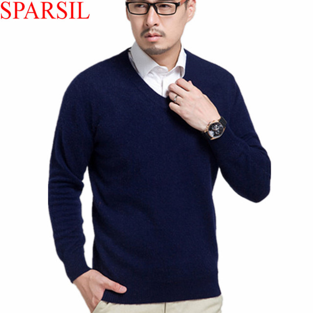 Sparsil Men's Winter Warm and Casual V-Neck Cashmere Blend Sweater/Pullover Male Knitted Pullovers Sweaters