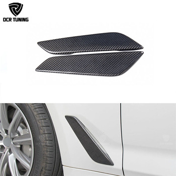 G30 탄소 섬유 펜더 자동차 앞 측면 공기 통풍구 커버 트림 2 pcs bmw 5 시리즈 g30 탄소 섬유 펜더 트림 2017 +